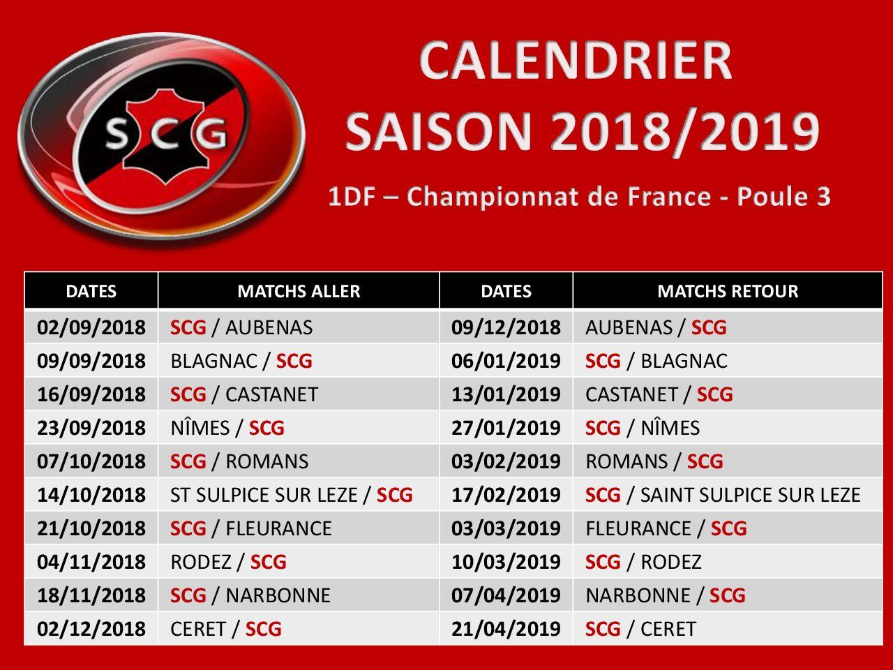 Le calendrier de la saison 2018/2019 dévoilé !