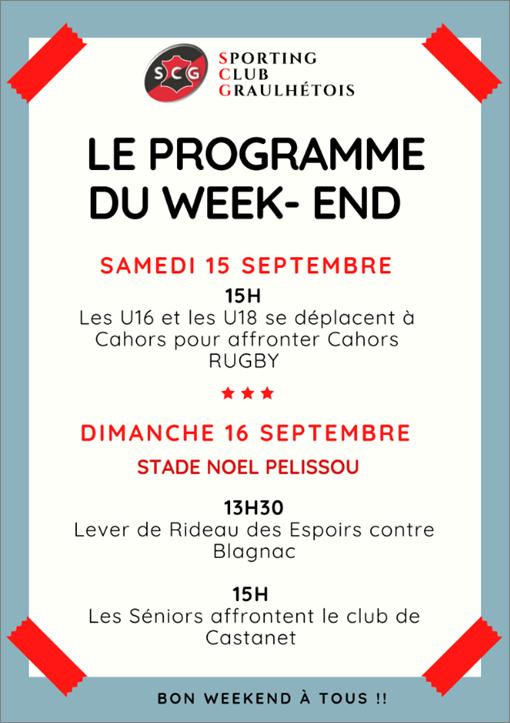PROGRAMME DU WEEK-END !!!